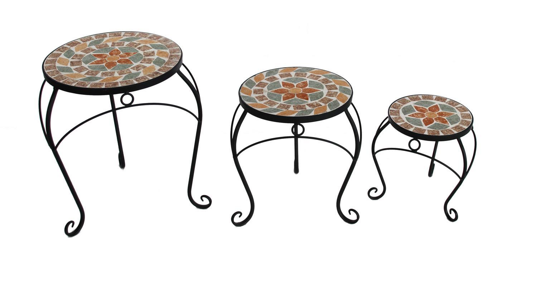 3 Satz Tisch Set Blumenhocker Metall Mit Blumen Mosaik Rund
