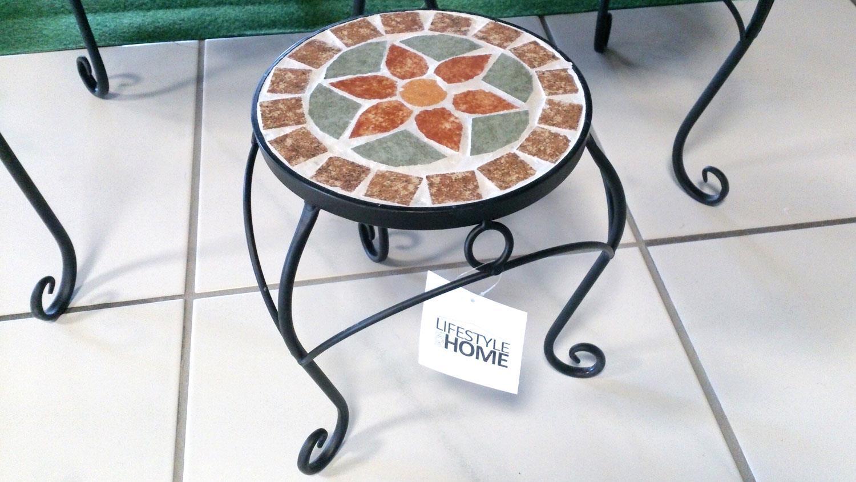 3 satz tisch set blumenhocker metall mit blumen mosaik rund. Black Bedroom Furniture Sets. Home Design Ideas