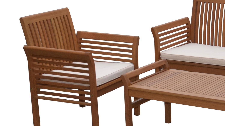 Lounge gruppe gartengarnitur aus massiver akazie 4 for Gartenmobel lounge gruppe