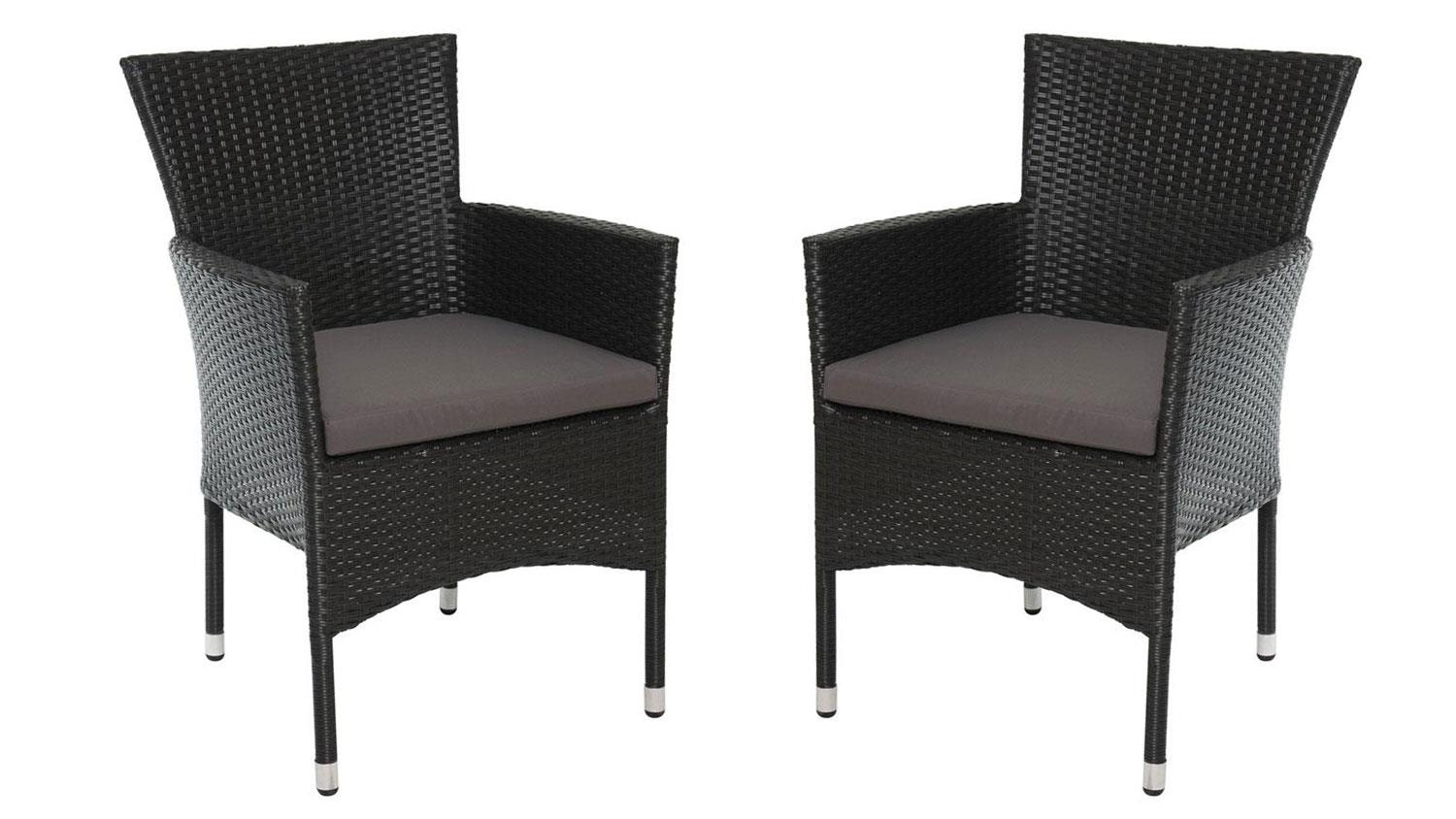 gartenstuhl 2er set polyrattan sessel in schwarz mit kissen. Black Bedroom Furniture Sets. Home Design Ideas