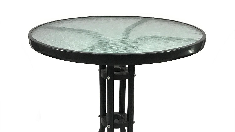 Balkon-Gruppe runder Glastisch mit Gartenstühlen 3-tlg Set