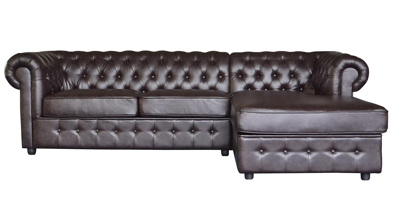 ecksofa chesterfield dark coffee braun glanz 269x167cm. Black Bedroom Furniture Sets. Home Design Ideas