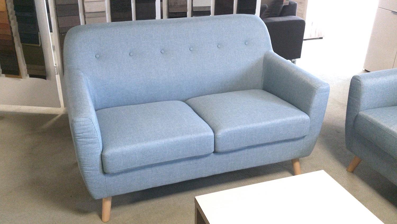Bekannt Sofa 2-Sitzer Linon Retro Couch in Leinen hellblau und Buche JD97