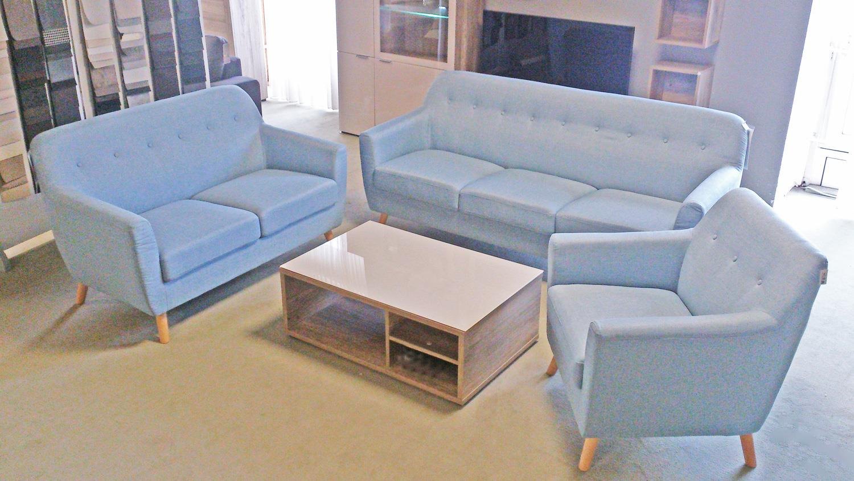 Berühmt Sofa Garnitur LINON aus Leinen Stoff in hellblau 3-teilig WH79