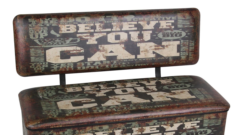 Sitzbank Retro Bank gepolstert mit Vintage Kunstleder und Stauraum Believe Motiv