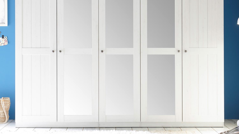kleiderschrank bellevue schrank landhaus in pine wei mit spiegel 256. Black Bedroom Furniture Sets. Home Design Ideas