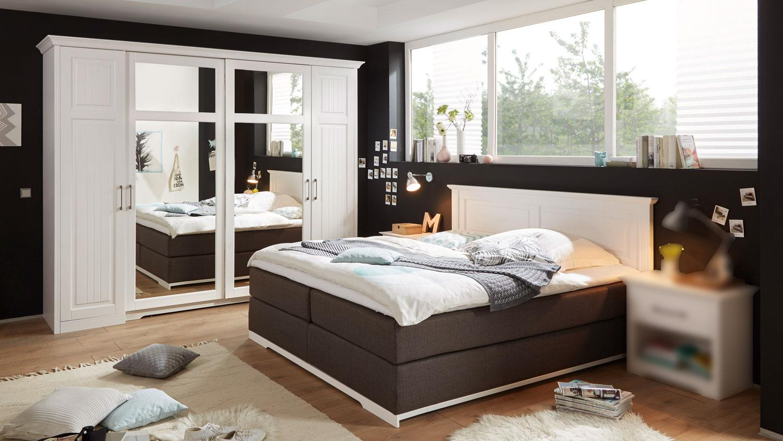 Schlafzimmer Set Landhaus Kalas Boxspringbett Kiefer massiv
