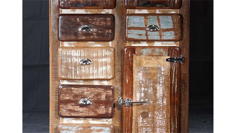 schrank fridge 3 t rig echt altholz bunt lackiert. Black Bedroom Furniture Sets. Home Design Ideas