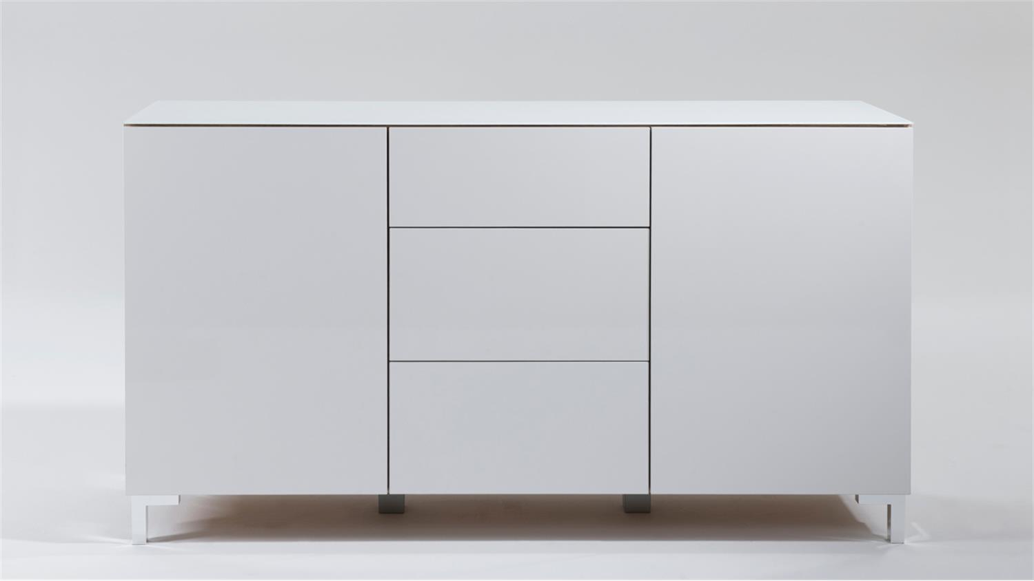 sideboard zac front hochglanz wei oberplatte glas 2 t rig. Black Bedroom Furniture Sets. Home Design Ideas