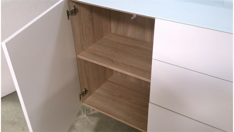 sideboard zac front hochglanz wei oberplatte glas 2 t rig. Black Bedroom Furniture Sets. Home Design Ideas