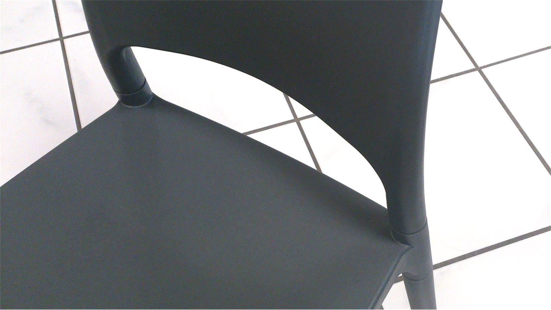 stuhl 2er set polly kunststoff grau küchenstuhl terrasse balkon garten