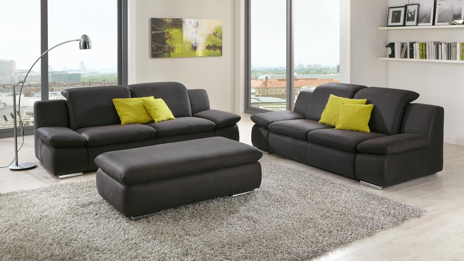 sofa isona 3 sitzer anthrazit mit kopfteilverstellung armteilfunktion. Black Bedroom Furniture Sets. Home Design Ideas