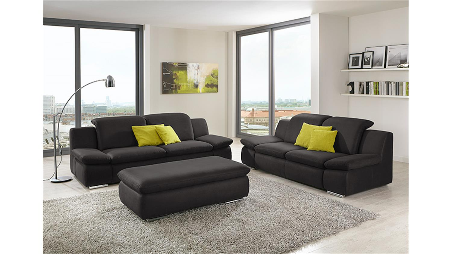 sofagarnitur isona wohnzimmersofa in anthrazit mit funktion. Black Bedroom Furniture Sets. Home Design Ideas