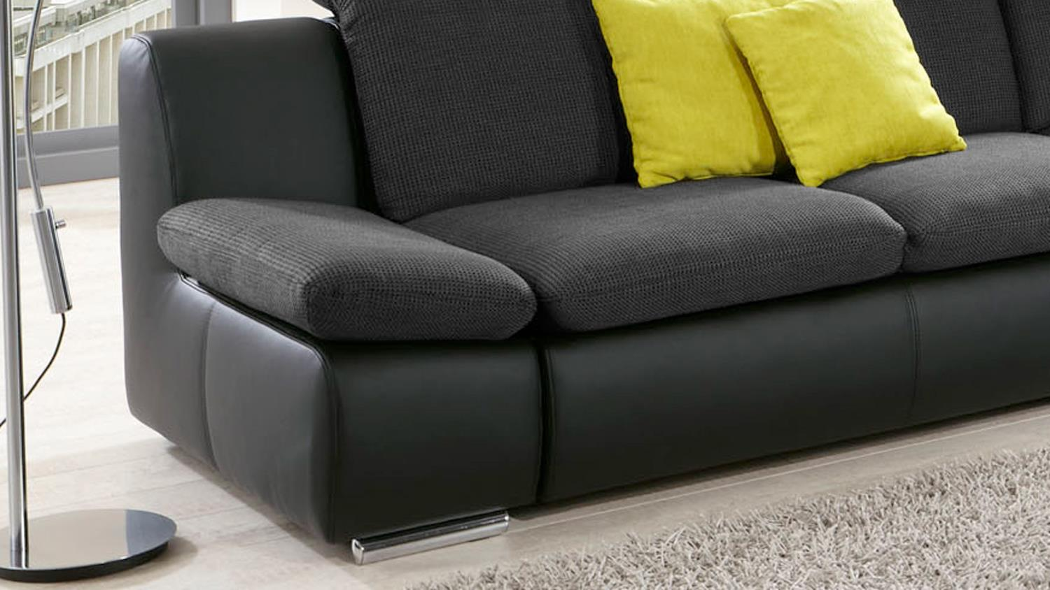 ecksofa isona schwarz dunkelgrau kopfteilverstellung armteilfunktion. Black Bedroom Furniture Sets. Home Design Ideas