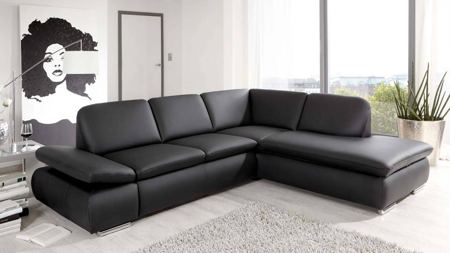 ecksofa vigo in schwarz mit federung und funktion 264x208. Black Bedroom Furniture Sets. Home Design Ideas