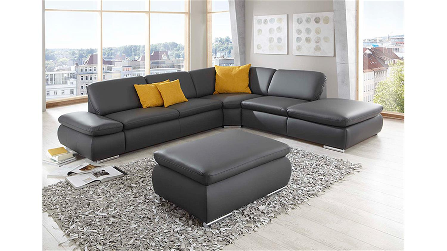 ecksofa vigo wohnlandschaft sofa in dunkelgrau 296 cm. Black Bedroom Furniture Sets. Home Design Ideas