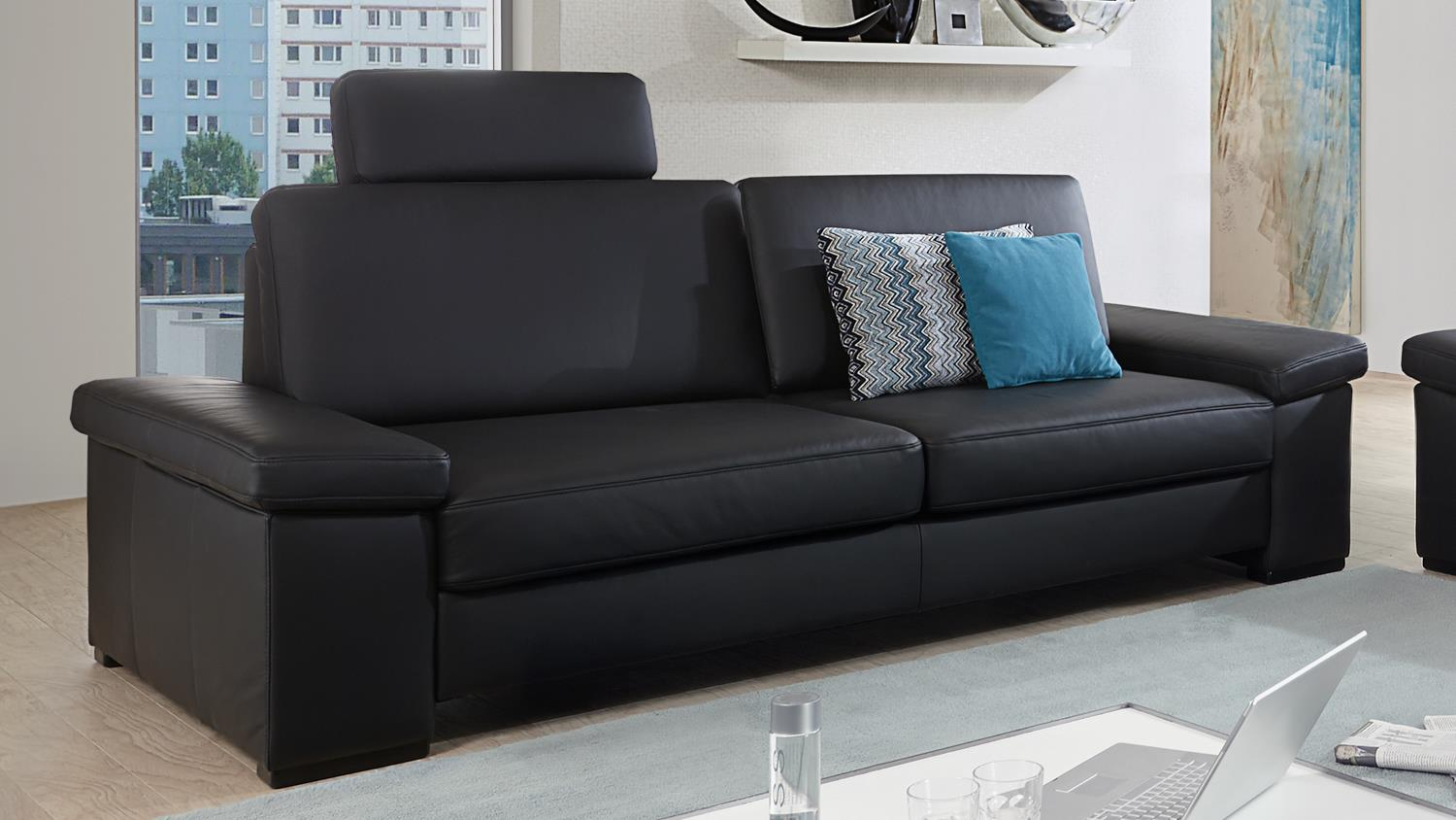 sofa puzzle 3 sitzer in echtleder schwarz mit federkern breite 228 cm. Black Bedroom Furniture Sets. Home Design Ideas