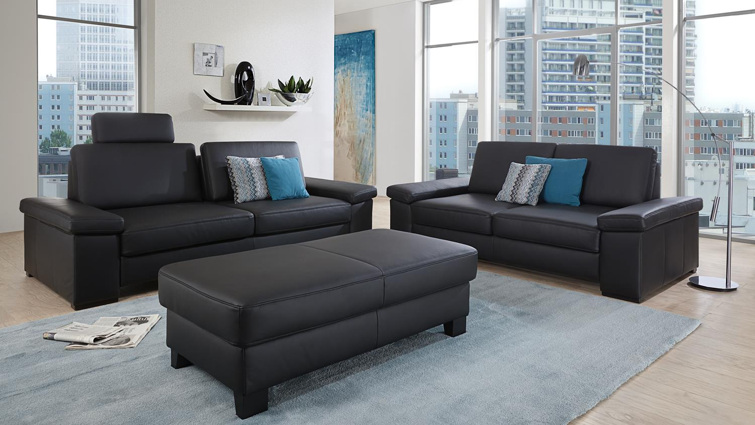 sofa puzzle 2 sitzer in echtleder schwarz mit federkern breite 208 cm. Black Bedroom Furniture Sets. Home Design Ideas