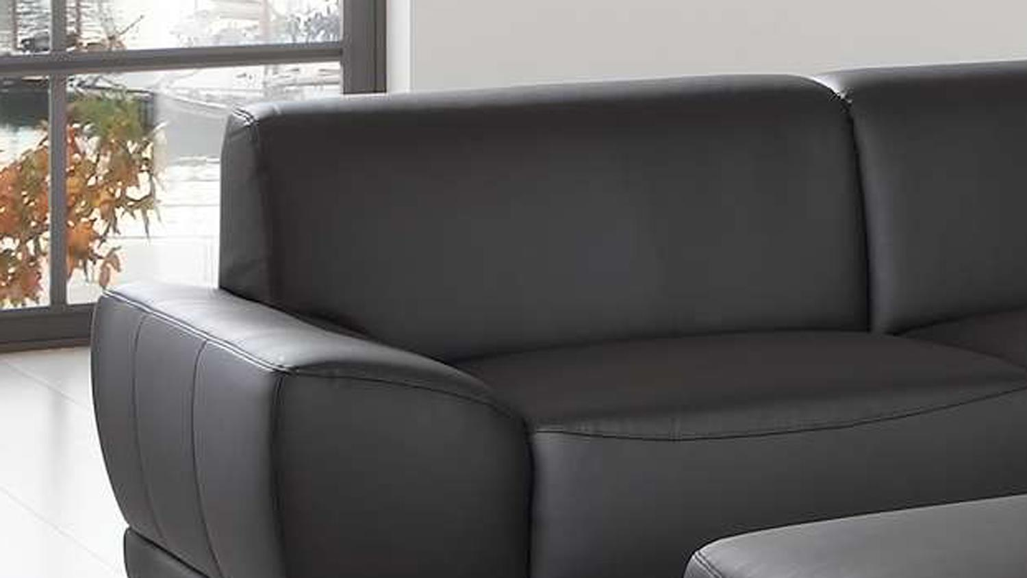 sofa manila 3 sitzer in schwarz mit federkern und vollschaum 218 cm. Black Bedroom Furniture Sets. Home Design Ideas