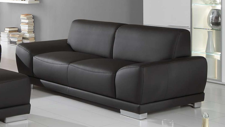 Ledersofa schwarz 2 sitzer  MANILA 2-Sitzer in schwarz mit Federkern und Vollschaum 198 cm