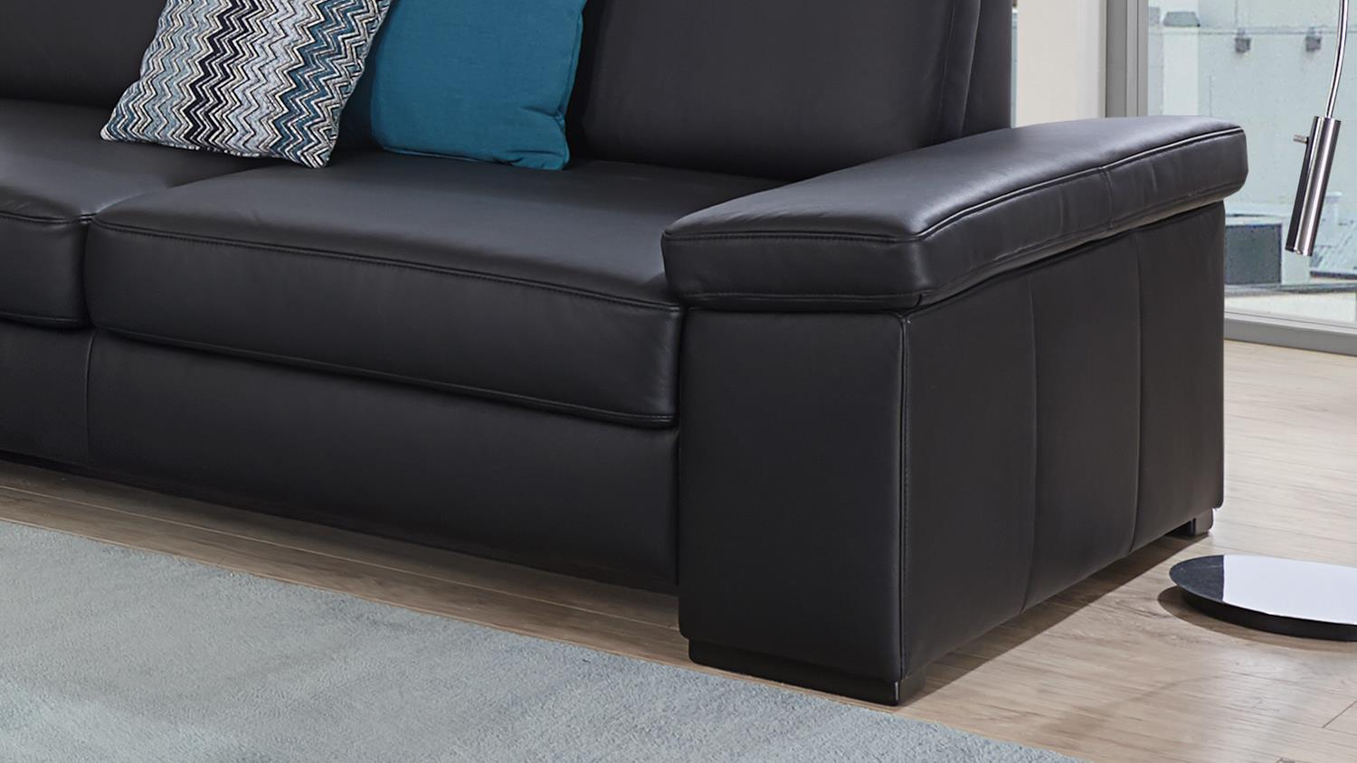 sofa puzzle 2 sitzer in lederlook schwarz mit federkern breite 208 cm. Black Bedroom Furniture Sets. Home Design Ideas