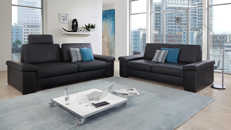 sofa puzzle 2 sitzer in lederlook schwarz mit federkern. Black Bedroom Furniture Sets. Home Design Ideas