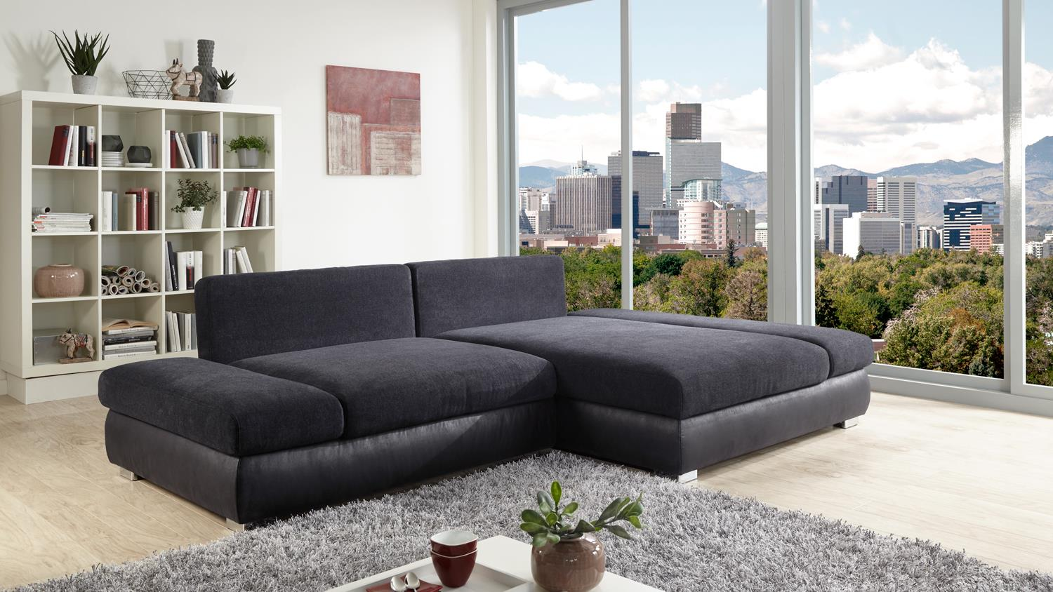 ecksofa bangkok stoff anthrazit und schwarz mit federkern. Black Bedroom Furniture Sets. Home Design Ideas