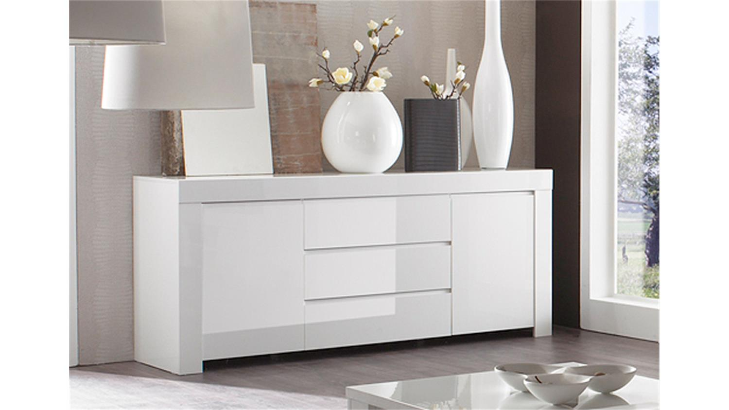 sideboard amalfi wei echt hochglanz lackiert 190cm 2 t rig. Black Bedroom Furniture Sets. Home Design Ideas