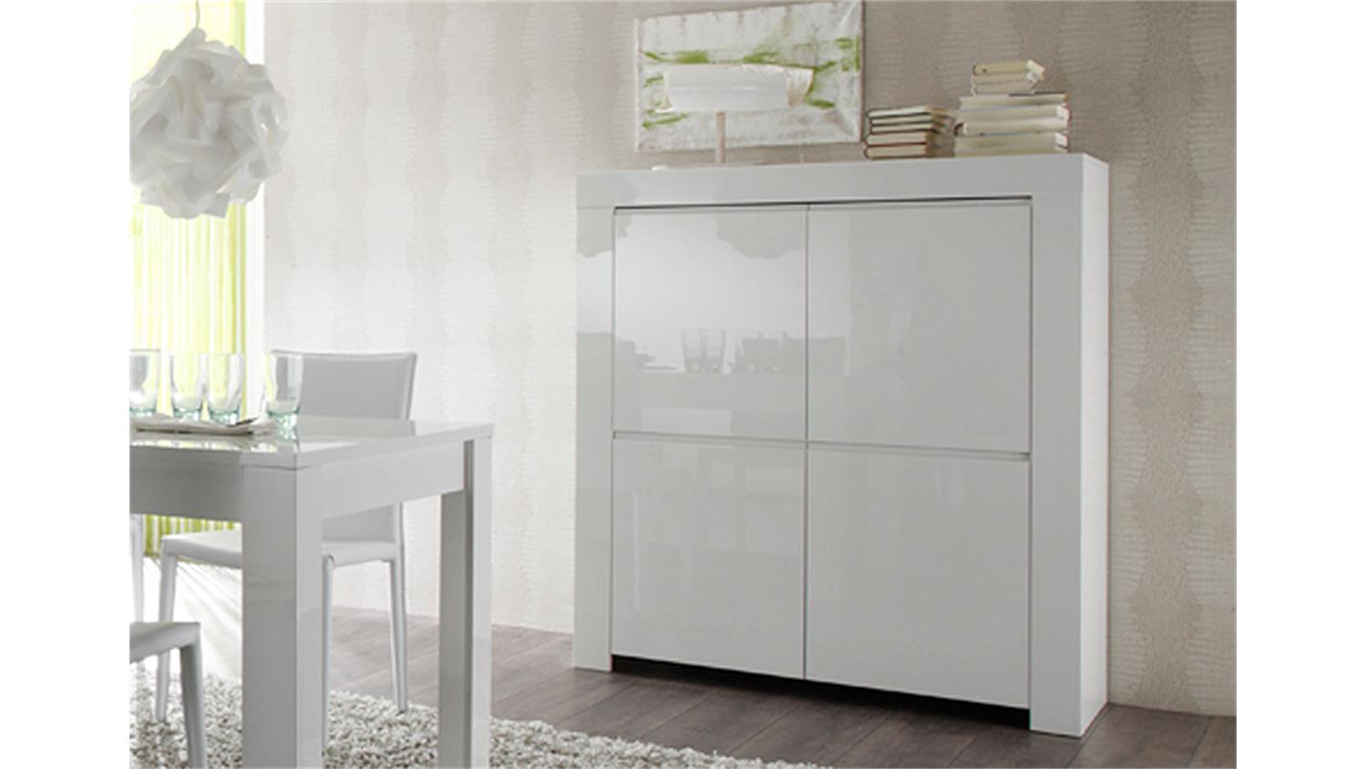highboard amalfi in wei echt hochglanz lackiert 4 t rig. Black Bedroom Furniture Sets. Home Design Ideas