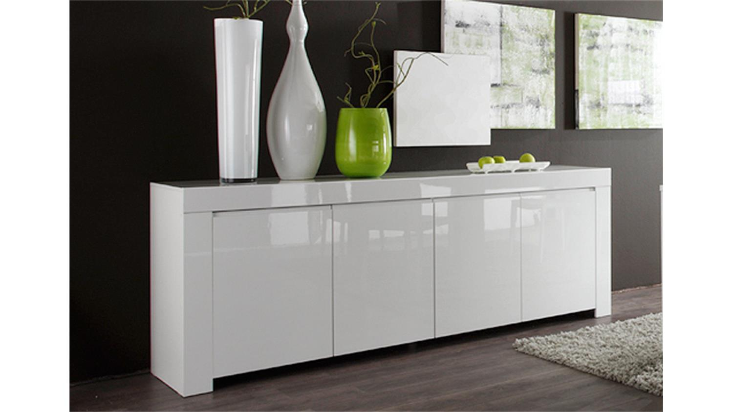 sideboard amalfi in wei echt hochglanz lackiert 210 cm breit. Black Bedroom Furniture Sets. Home Design Ideas