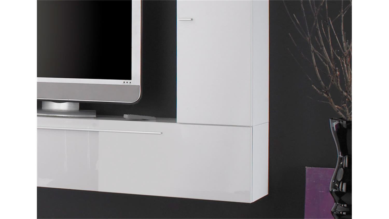 wohnwand primo a wei und schwarz hochglanz lackiert. Black Bedroom Furniture Sets. Home Design Ideas