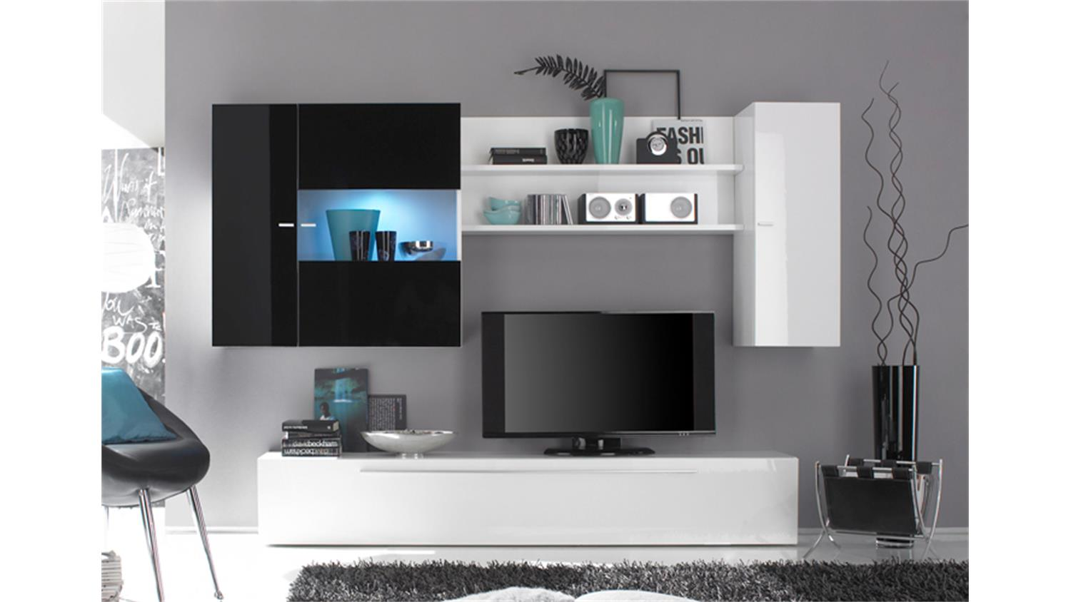wohnwand h ngend modern schwarz. Black Bedroom Furniture Sets. Home Design Ideas