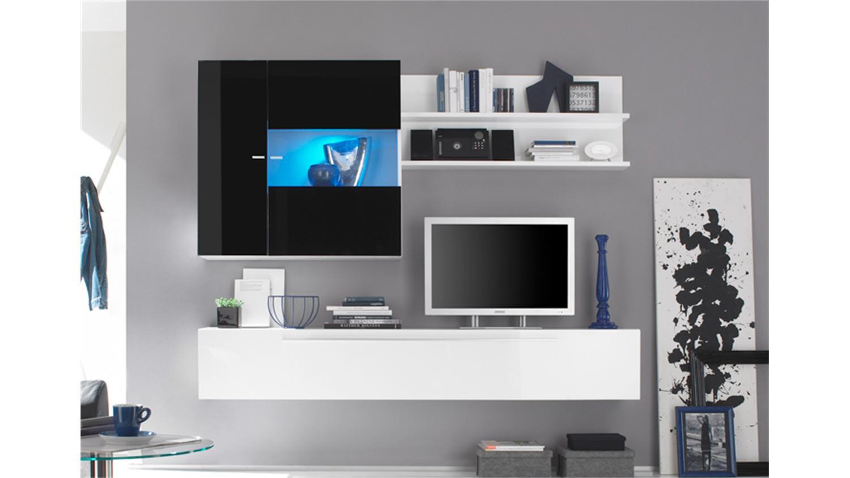 wohnwand primo h wei schwarz echt hochglanz lackiert. Black Bedroom Furniture Sets. Home Design Ideas