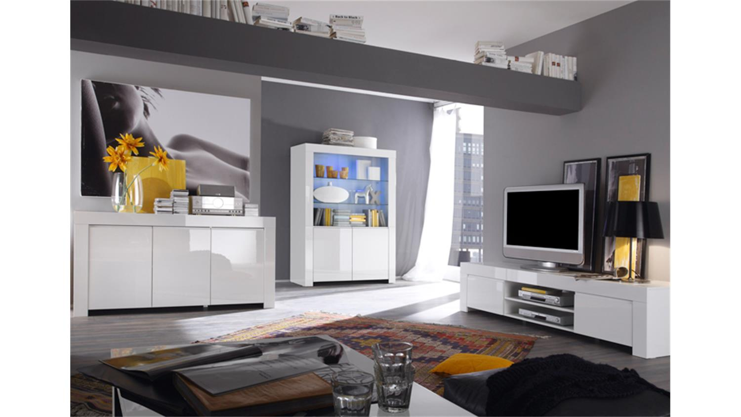 vitrine amalfi in wei echt hochglanz lackiert 4 t rig. Black Bedroom Furniture Sets. Home Design Ideas