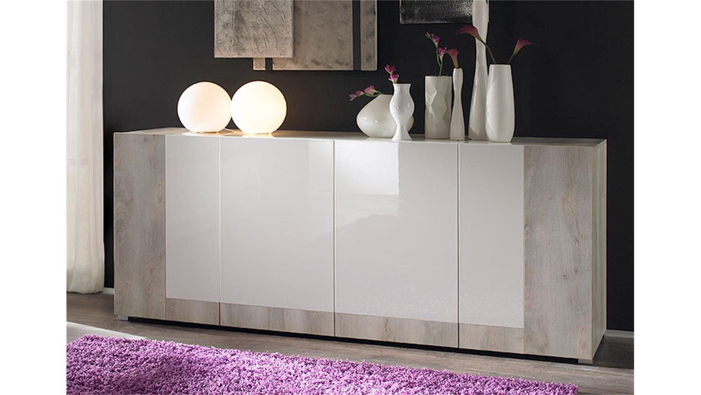 sideboard mars wei hochglanz lackiert und pinie wei. Black Bedroom Furniture Sets. Home Design Ideas