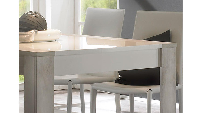 esstisch 180x90 weiß hochglanz lackiert / pinie weiß