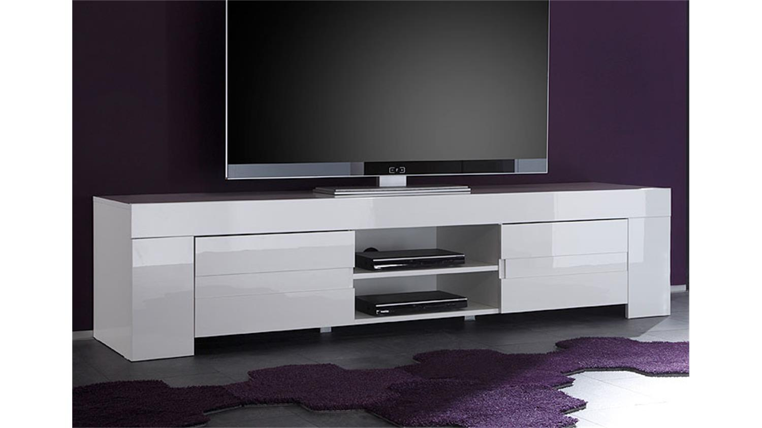 tv lowboard eos wei echt hochglanz lackiert 2 t ren. Black Bedroom Furniture Sets. Home Design Ideas