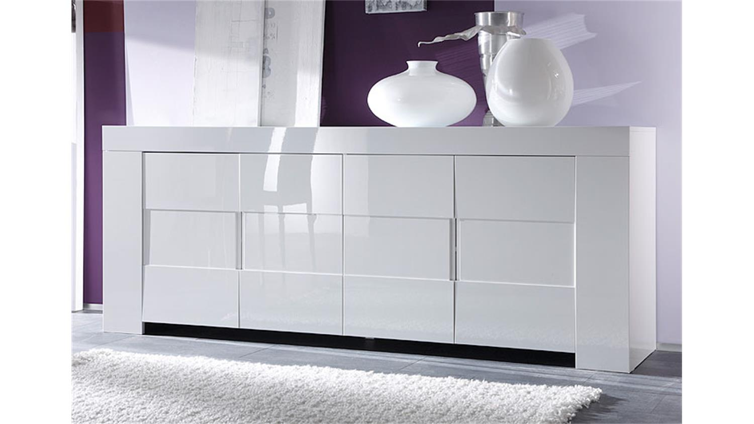sideboard eos wei echt hochglanz lackiert 210 cm breit. Black Bedroom Furniture Sets. Home Design Ideas