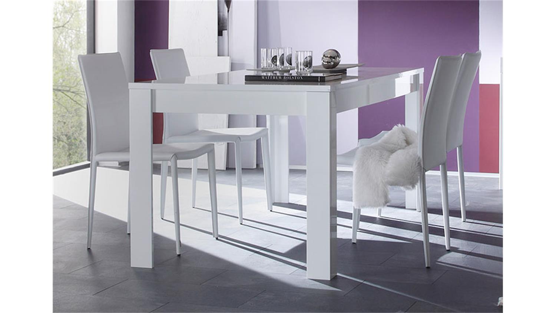 tischgruppe eos wei st hle lederlook hochglanz lack 160x90. Black Bedroom Furniture Sets. Home Design Ideas
