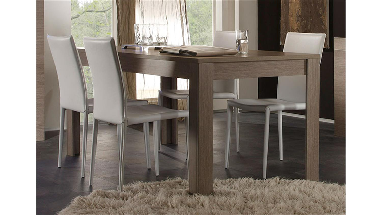 Tischgruppe EOS Tisch 180x90 Eiche Grau Dekor Lederlook weiß