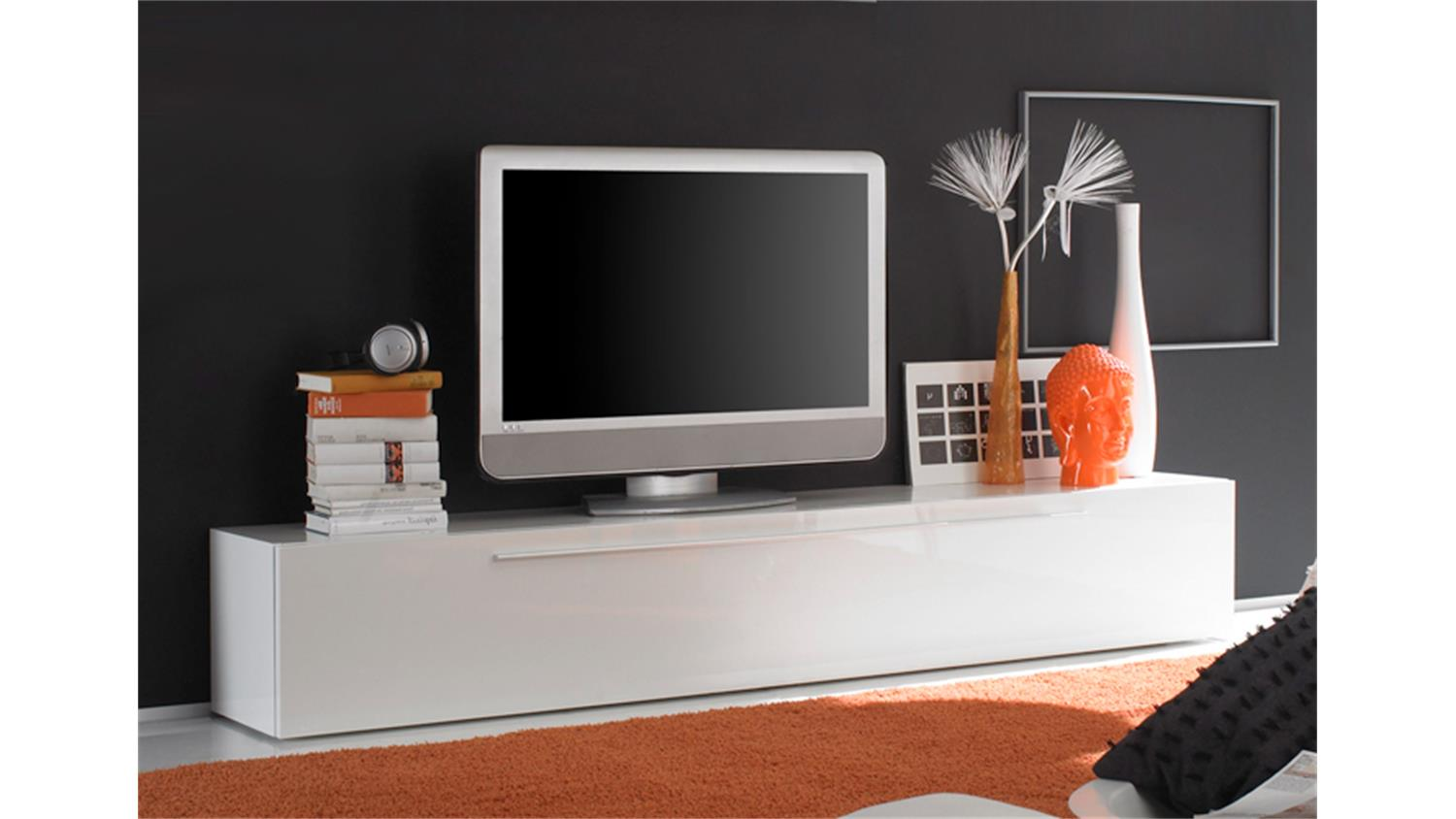 tv lowboard primo wei echt hochglanz lackiert. Black Bedroom Furniture Sets. Home Design Ideas