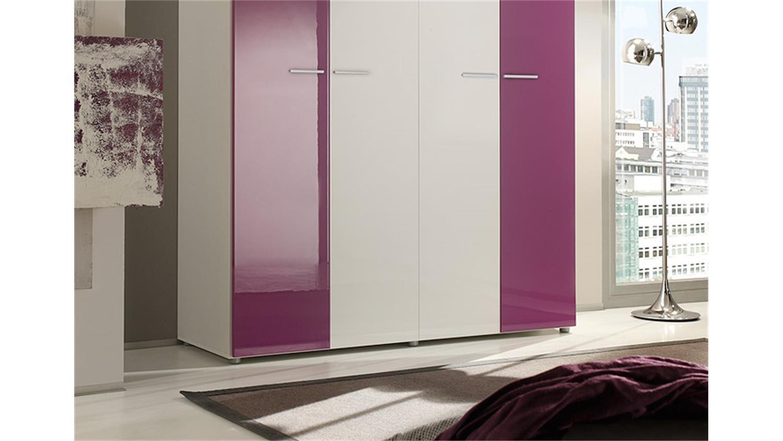 kleiderschrank smart wei lila hochglanz 159 cm. Black Bedroom Furniture Sets. Home Design Ideas