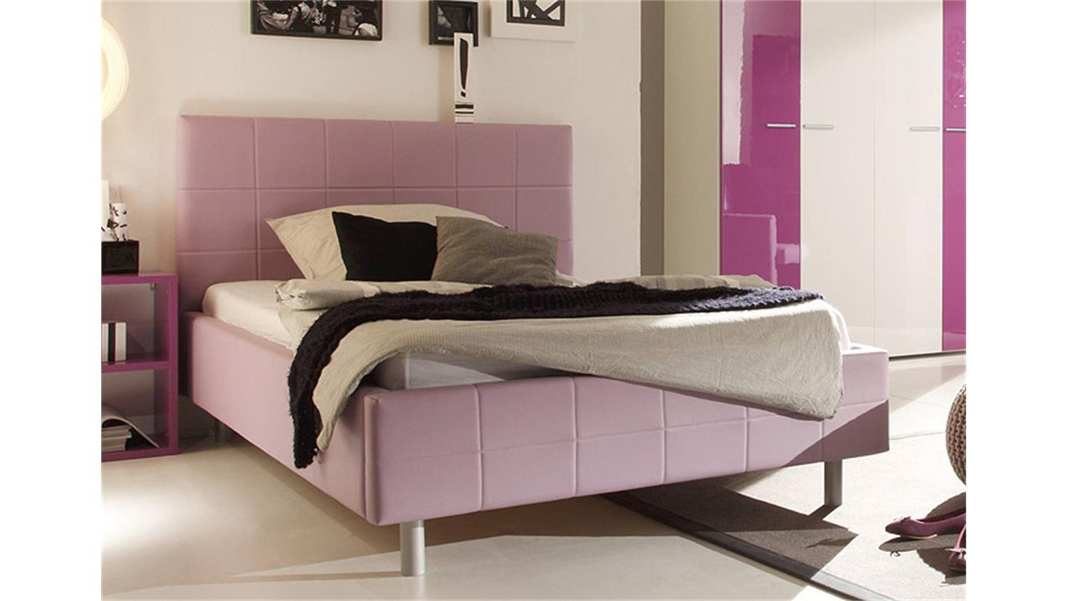 polsterbett smart bett schlafzimmerbett in lila 140x200 cm. Black Bedroom Furniture Sets. Home Design Ideas
