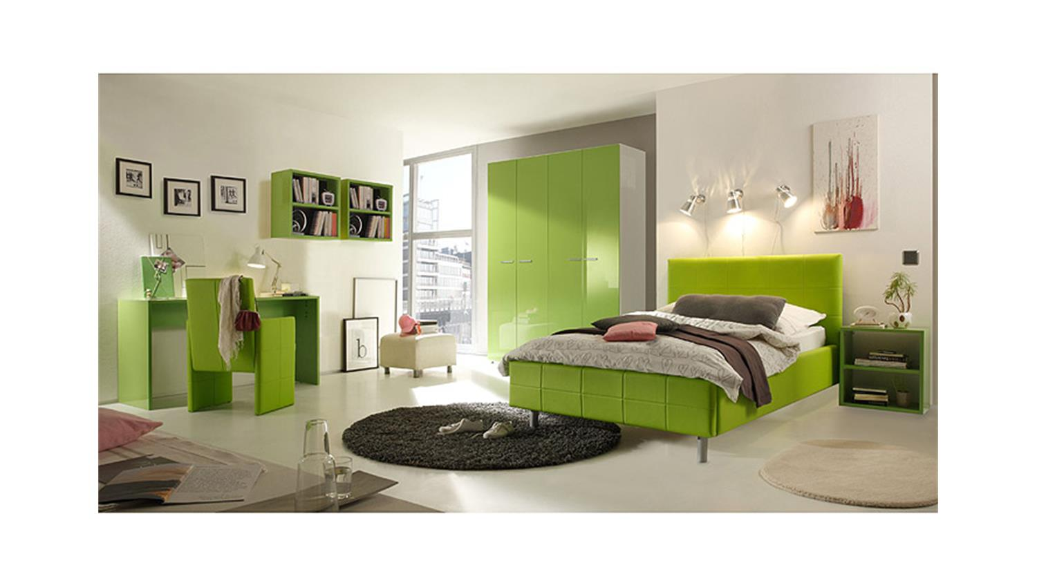 jugendzimmer smart kiwi gr n hochglanz wei. Black Bedroom Furniture Sets. Home Design Ideas