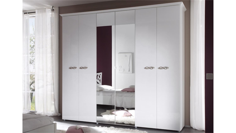 kleiderschrank ambrosia 6 t rig hochglanz wei lackiert. Black Bedroom Furniture Sets. Home Design Ideas