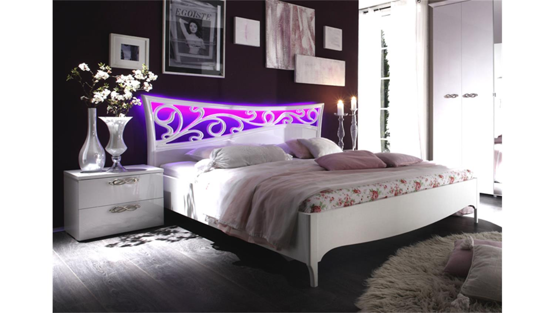 Bett AMBROSIA 180x200 Hochglanz Weiß lackiert