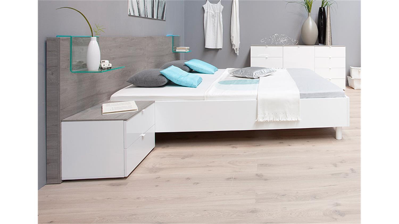 schlafzimmer set tambura wei lack und eiche grau. Black Bedroom Furniture Sets. Home Design Ideas