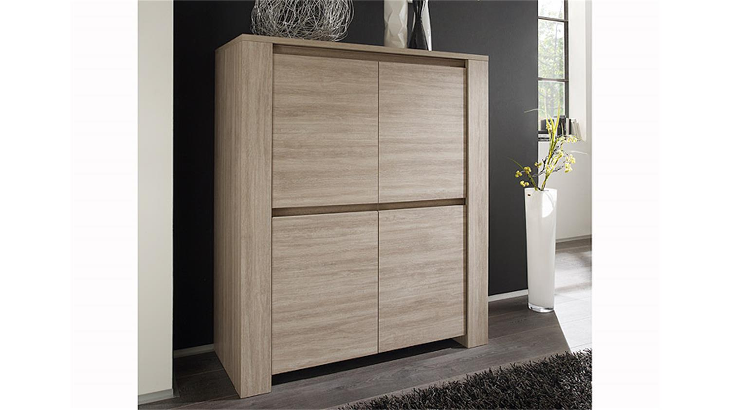Highboard elba sideboard kommode in eiche gek lkt zweit rig - Castorama meuble de rangement ...