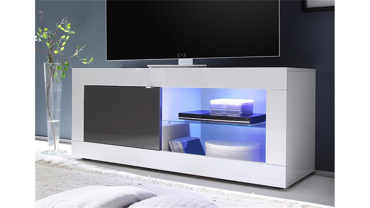 tv element basic wei und anthrazit lackiert b 140 cm. Black Bedroom Furniture Sets. Home Design Ideas