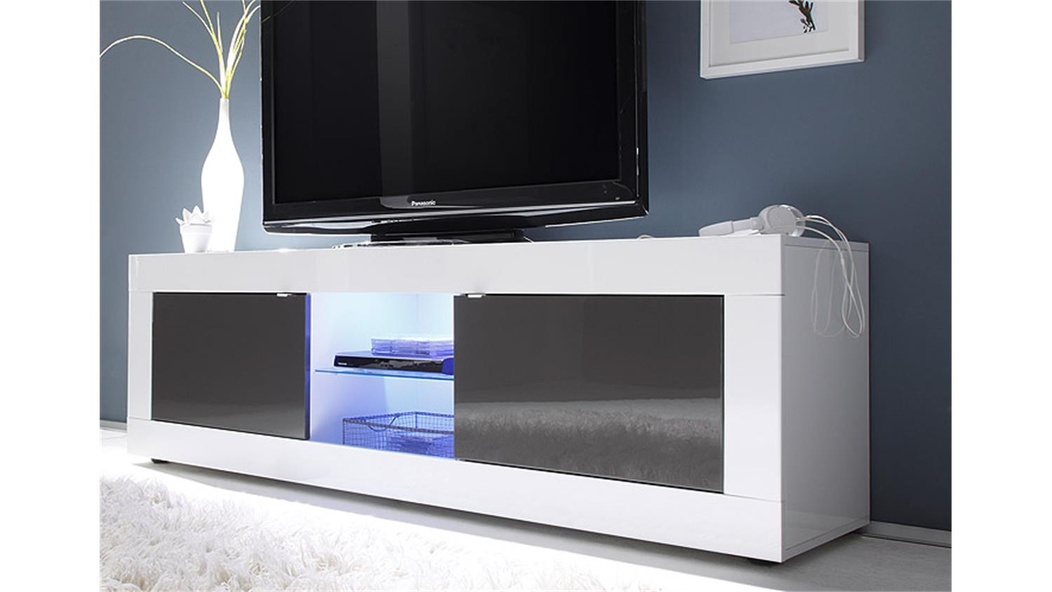 tv element basic wei und anthrazit lackiert b 181 cm. Black Bedroom Furniture Sets. Home Design Ideas
